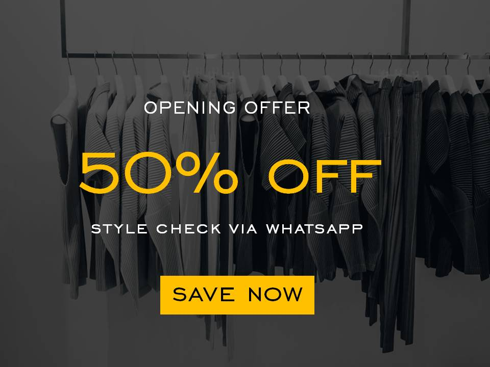 Grand Opening Offer, 50% Off, Style Check via WhatsApp, House of Blom