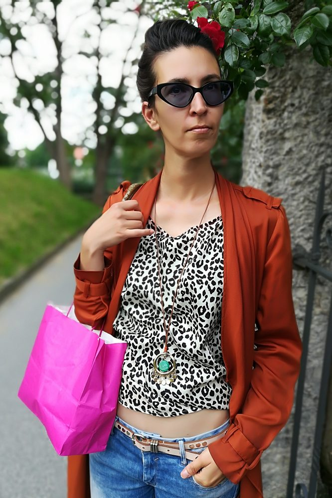 Fashion Editor Carmen Blom posing in urban environment and greenery